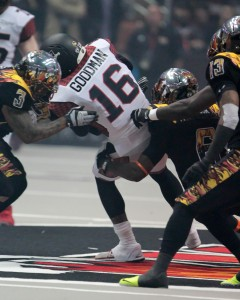LA Kiss Defense left trying to hold on. Photo by Jevone Moore / Full Image 360