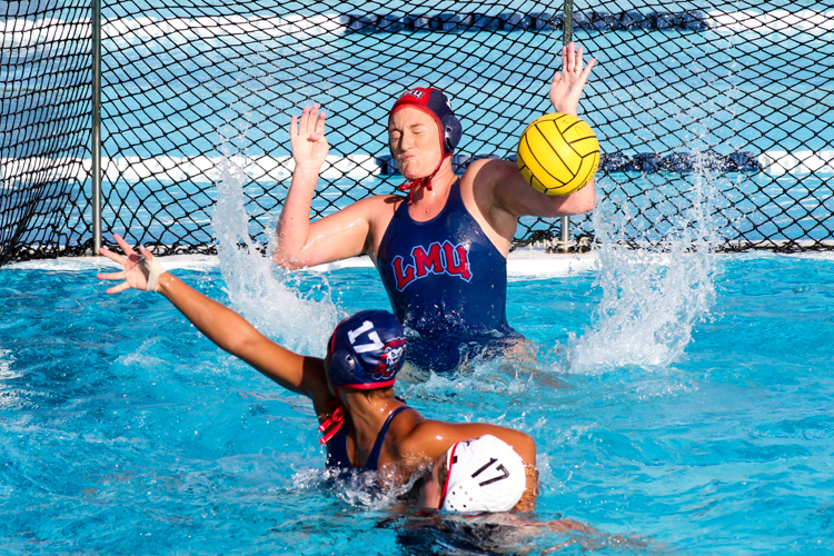 LMU Goalkeeper Jordan White on 1 of Her 9 Blocks / Saves in 8-9 defeat. All Photos by Jevone Moore / Full Image 360