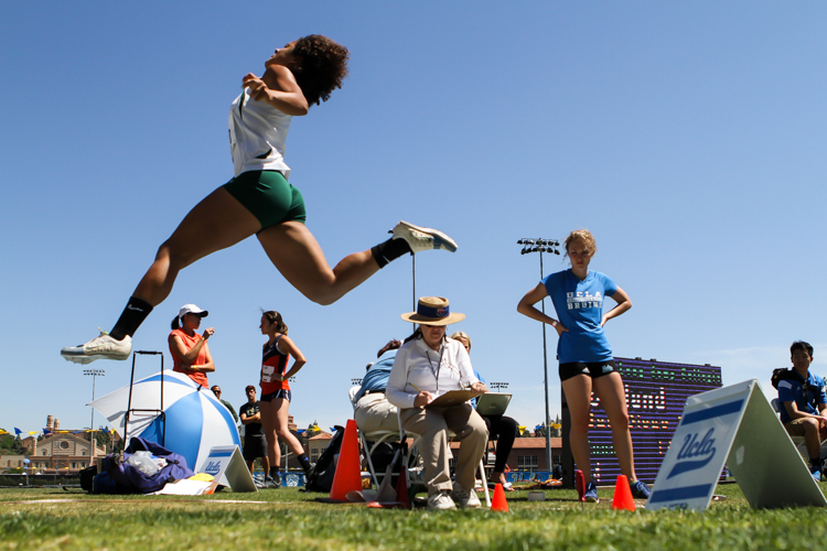 Cal Poly Kendal Nelson flying on winning Triple Jump 11.87m. All Photos by Jevone Moore / Full Image 360