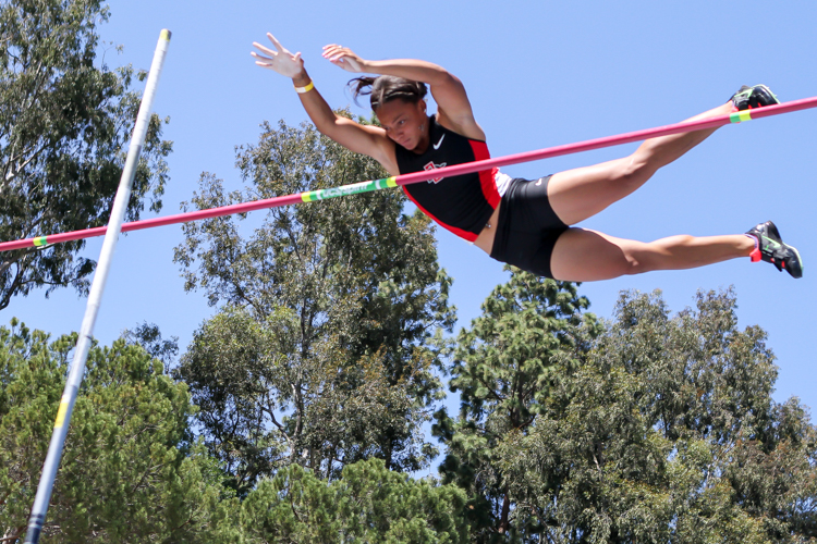 San Diego State Kristen Brown who placed 3rd in High Jump 13-01.75 & led off 4 x 100 Relay.
