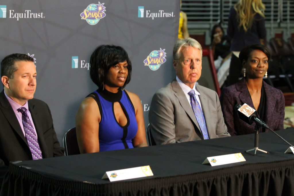 Los Angeles Sparks Staff 2015 (L-R) Assistant Curt Miller, General Manager Penny Toler, Head Coach Brian Agler, Assistant Amber Stocks