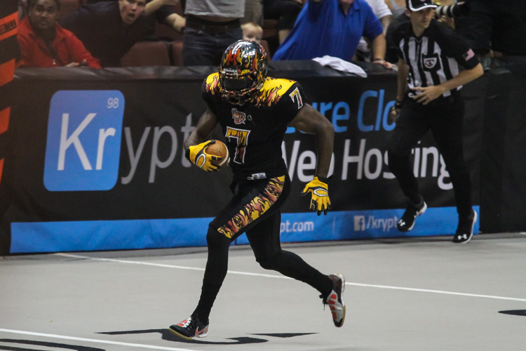 LA Kiss MVP DB Rayshaun Kizer in daylight with a Pick 6 to secure the victory. Photo by Jevone Moore
