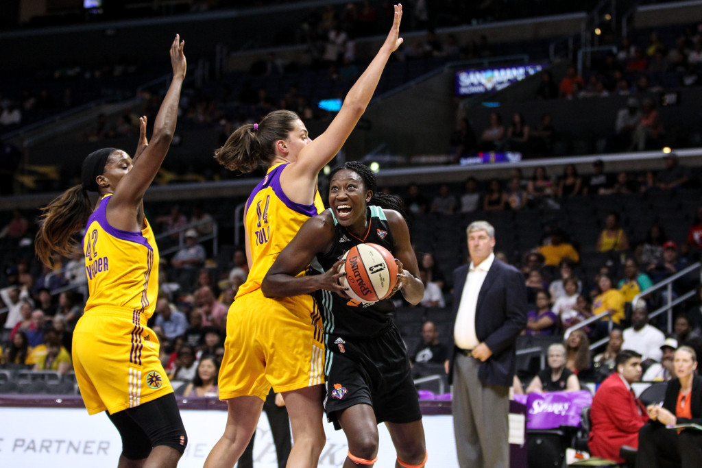Liberty Tina Charles makes strong move in the paint. Photo by Jordon Kelly