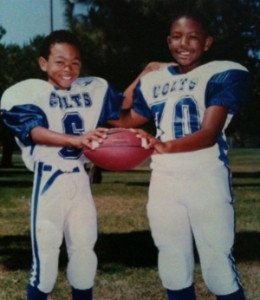 They were Carson Colts teammates now -Cal Bears WR Bryce Treggs (L) & Stanford SS Kodi Whitfield. Photo Courtesy of  Euradell White