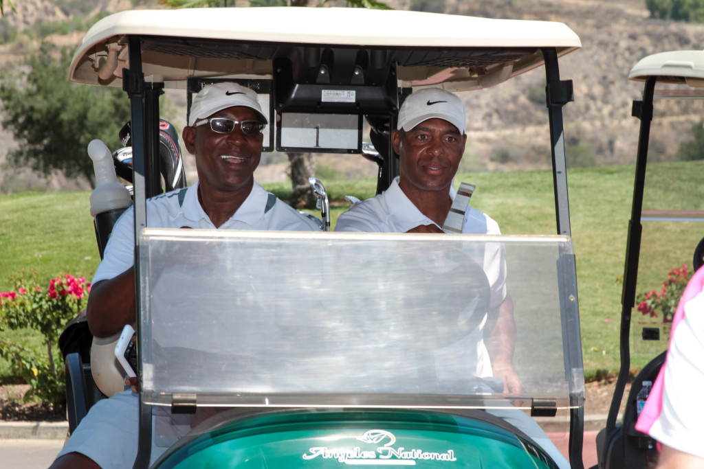 Host Eric Dickerson & Marcus Allen after earlier round of golf. Photo by Jevone Moore