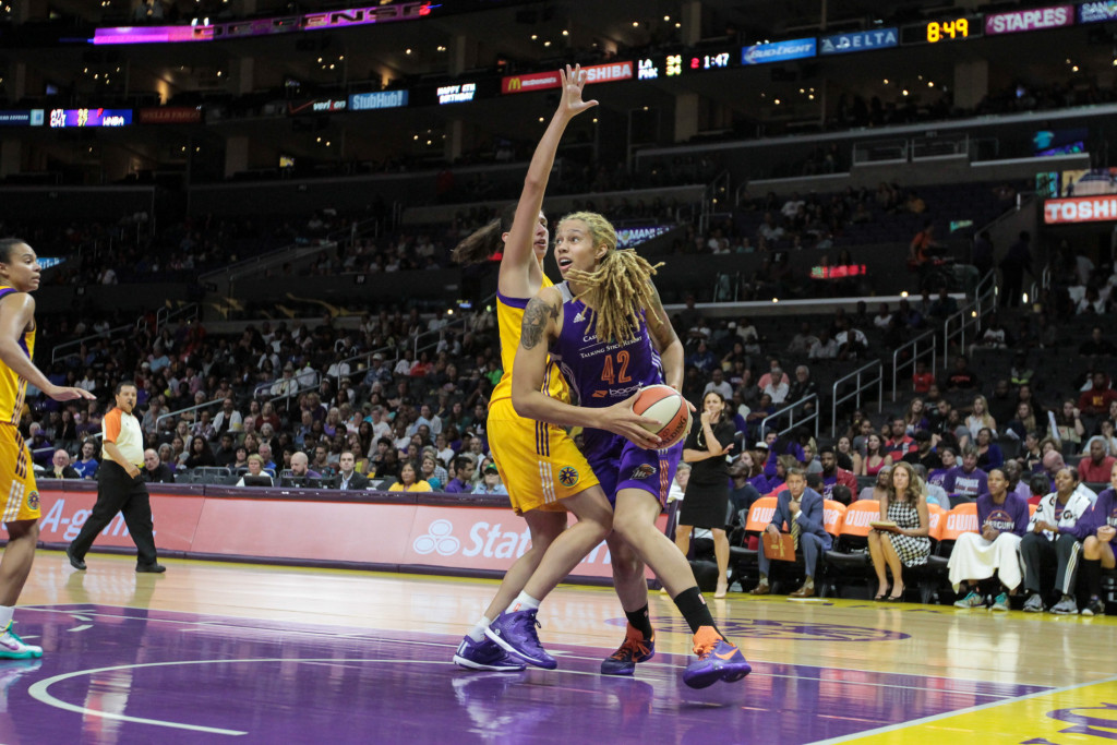 Sparks Marianna Tolo boding up All-Star Brittney Griner. Photo by Jevone Moore