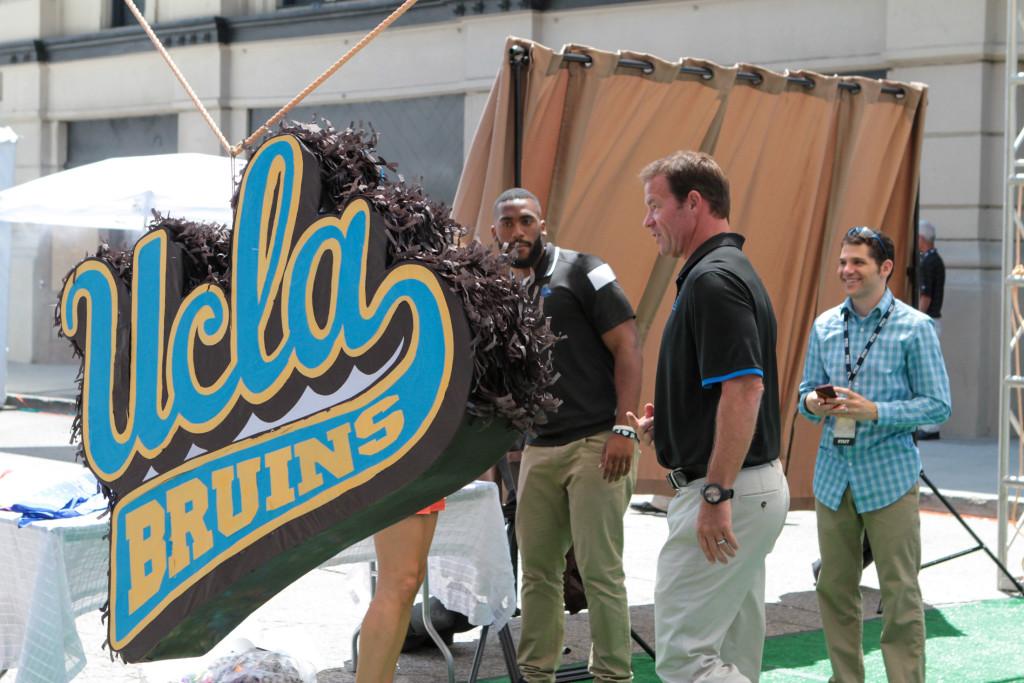 Ucla Bruins Coach Mora, Center Jake Brendel & LB Deon Hollins. Photo by Jevone Moore
