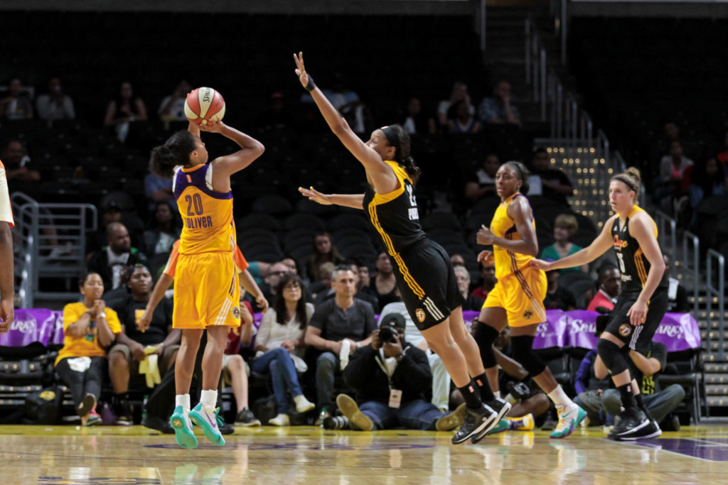 Kristi Toliver draining  one of her seven 3 pointers. Photo by Jevone Moore