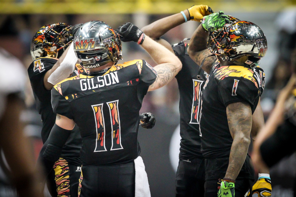 LA Kiss Wide Receivers Toast it Up after a Touchdown. Photo by Jordon Kelly