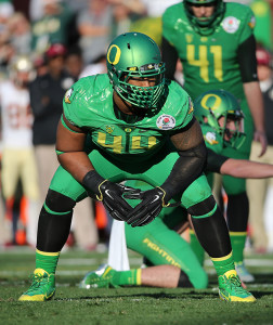 DT DeForest Buckner at Rose Bowl. Photo by Jevone Moore
