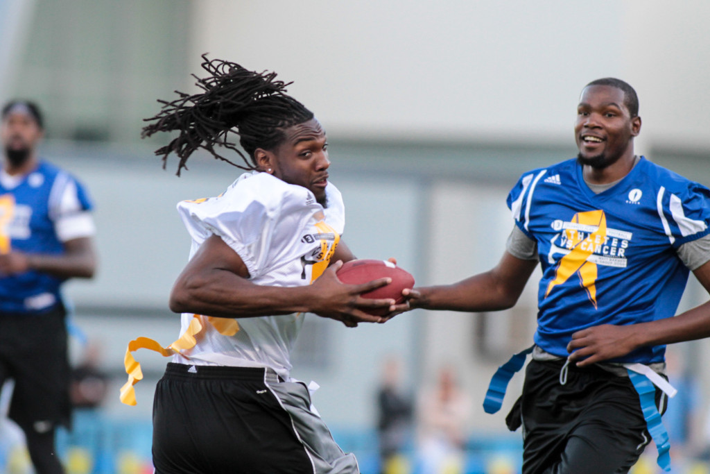 Kenneth Faried  with a touchdown catch over Kevin Durant.