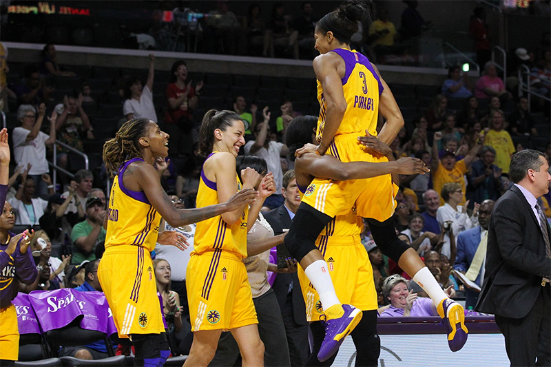 LA Sparks All Smiles After The Win. Photo by Jordon Kelly