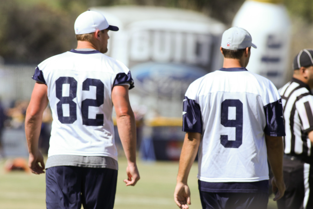 Witten & Romo on day off at Oxnard Camp just like tonight. Photo by Jevone Moore