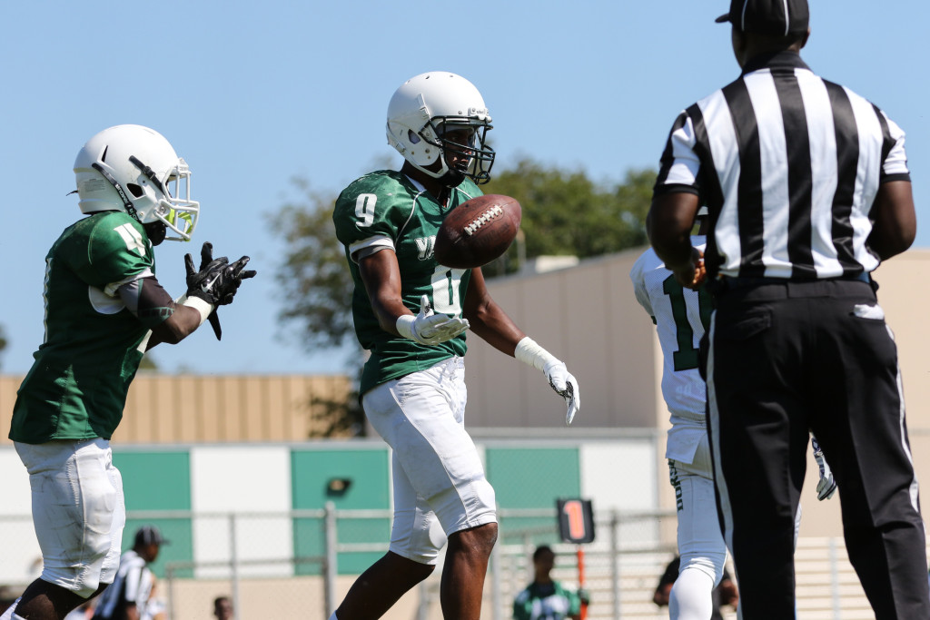 Receiver Christopher Henry flips Ref the ball after touchdown. Photo by Jevone Moore
