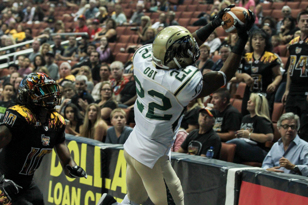 SaberCats Defensive Back Fred Obi on Dropped Interception. Photo by Jevone Moore