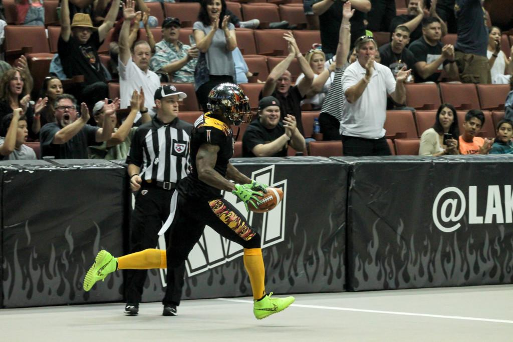 LA Kiss Football Donovan Morgan after Touchdown. Photo by Jevone Moore