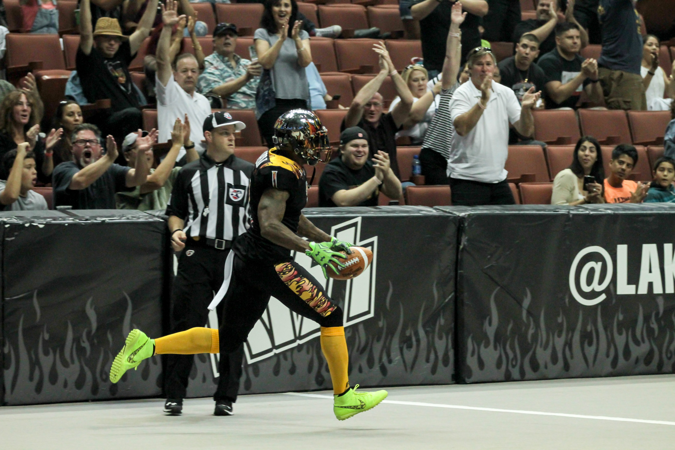 LA Kiss Football Donovan Morgan after Touchdown. Photo by Jevone Moore