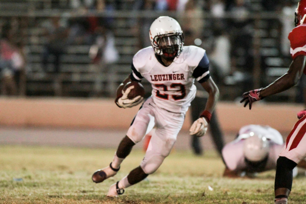Leuzinger Running Back Semaj Daniels finding few extra yards. Photo by Jevone Moore