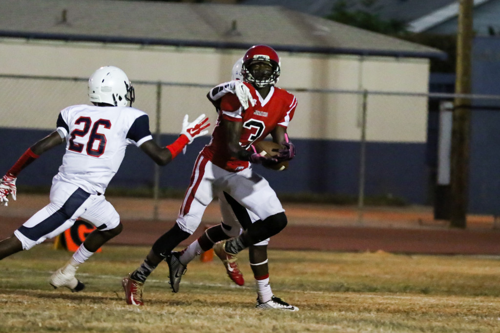 Monarchs Game MVP Adarrus Wilson beating double coverage for a Touchdown. Photo by Jevone Moore