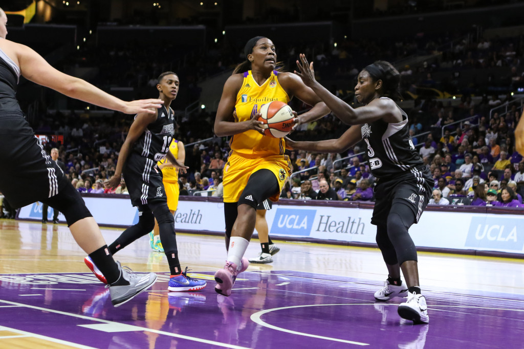 Jantel Lavender dropped 24 points to lead Los Angeles Sparks. Photo by Jevone Moore