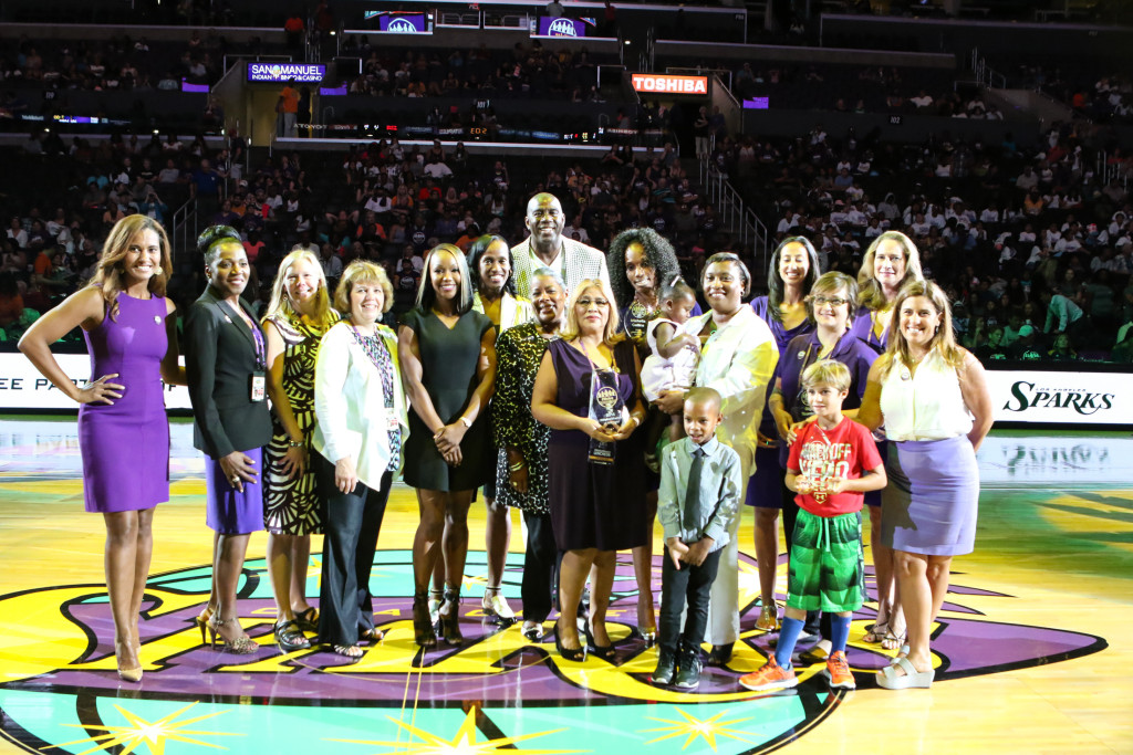#WeAreStrong Winners, Presenters, Magic Johnson, & Los Angeles Sparks CEO Christine Simmons. Photo by Jevone Moore