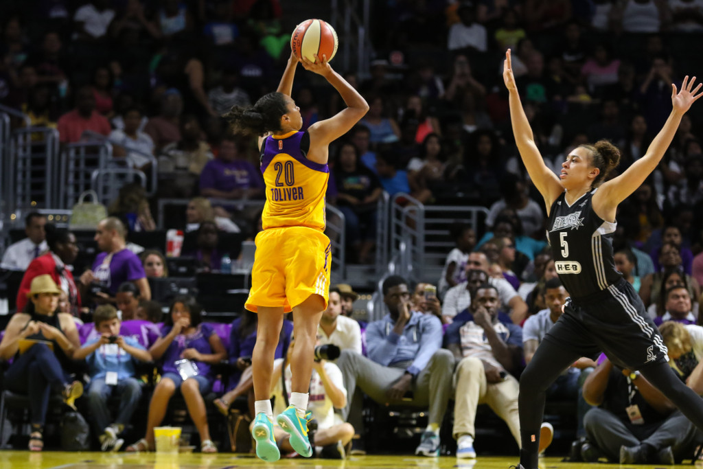 Los Angeles Sparks Kristi Toliver from downtown. Photo by Jevone Moore