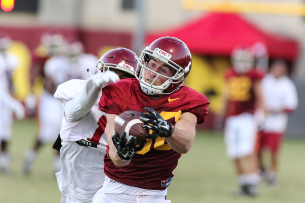 WR Robby Kolanz with nice over shoulder catch. Photo by Jevone Moore
