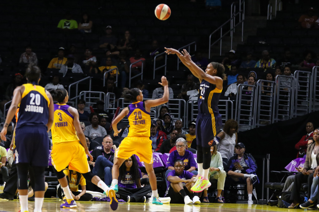 Tamika Catchings in 4th Quarter with 3 pointer Jump shot. Photo by Jevone Moore