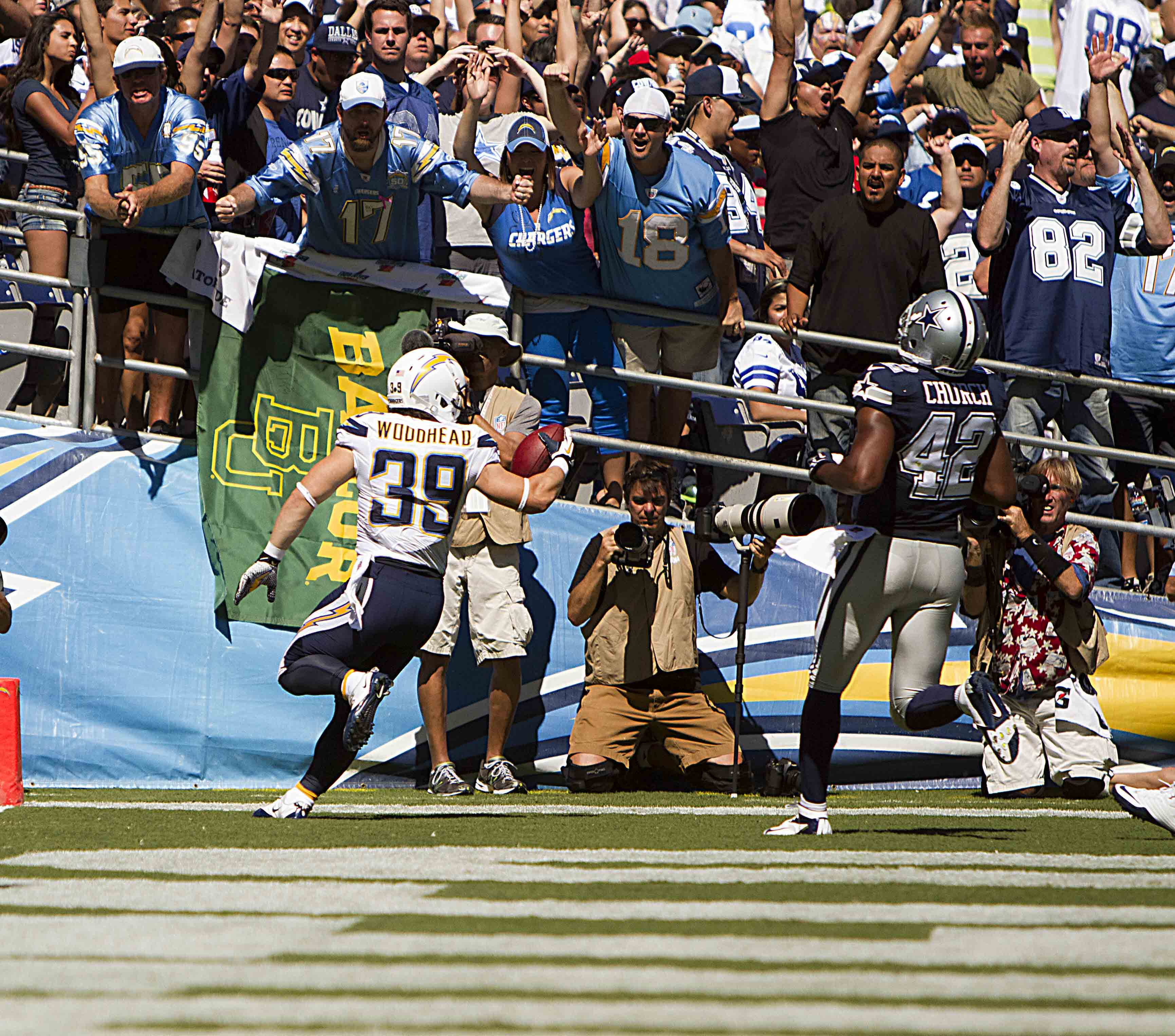 San Diego Chargers Danny scoring a Touchdown. Photo by Jevone Moore