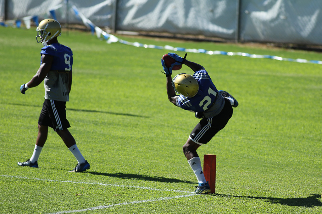 Safety  Tahaan Goodman during drills with Interception. Photo by Jevone Moore
