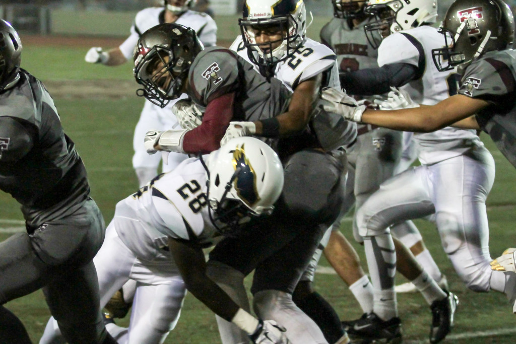 Eagles Linebacker Cameron Hayforth & Safety Kyle Pritchard on the Tackle. Photo by Jevone Moore