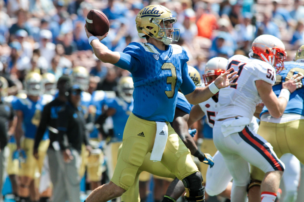 Ucla Josh Rosen throwing a bullet in first half. Photo by Jevone Moore