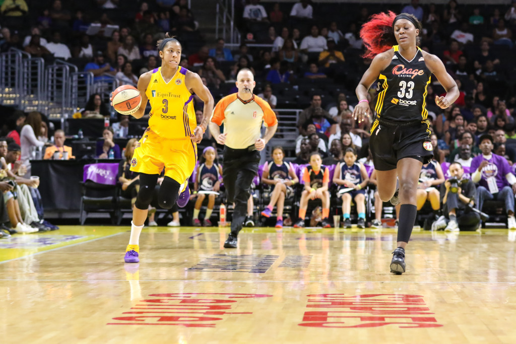 Los Angeles Sparks Candace Parker in open court of Staples Center.