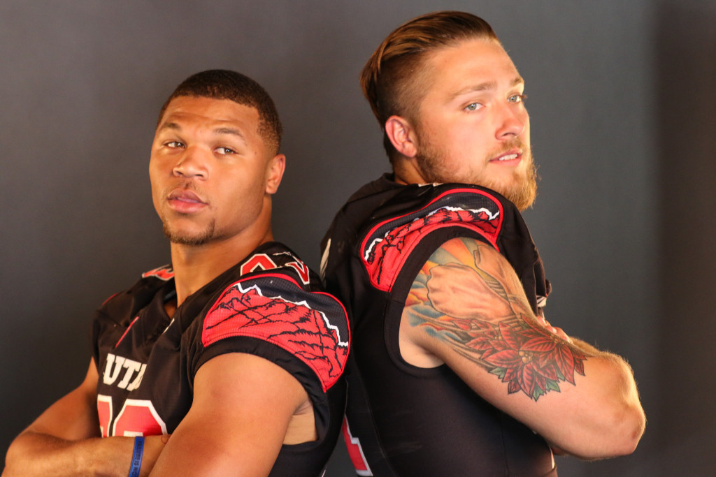 Utah Utes RB Devontae Booker & LB Jared Norris at Pac-12 Media Day. Photo by Jevone Moore