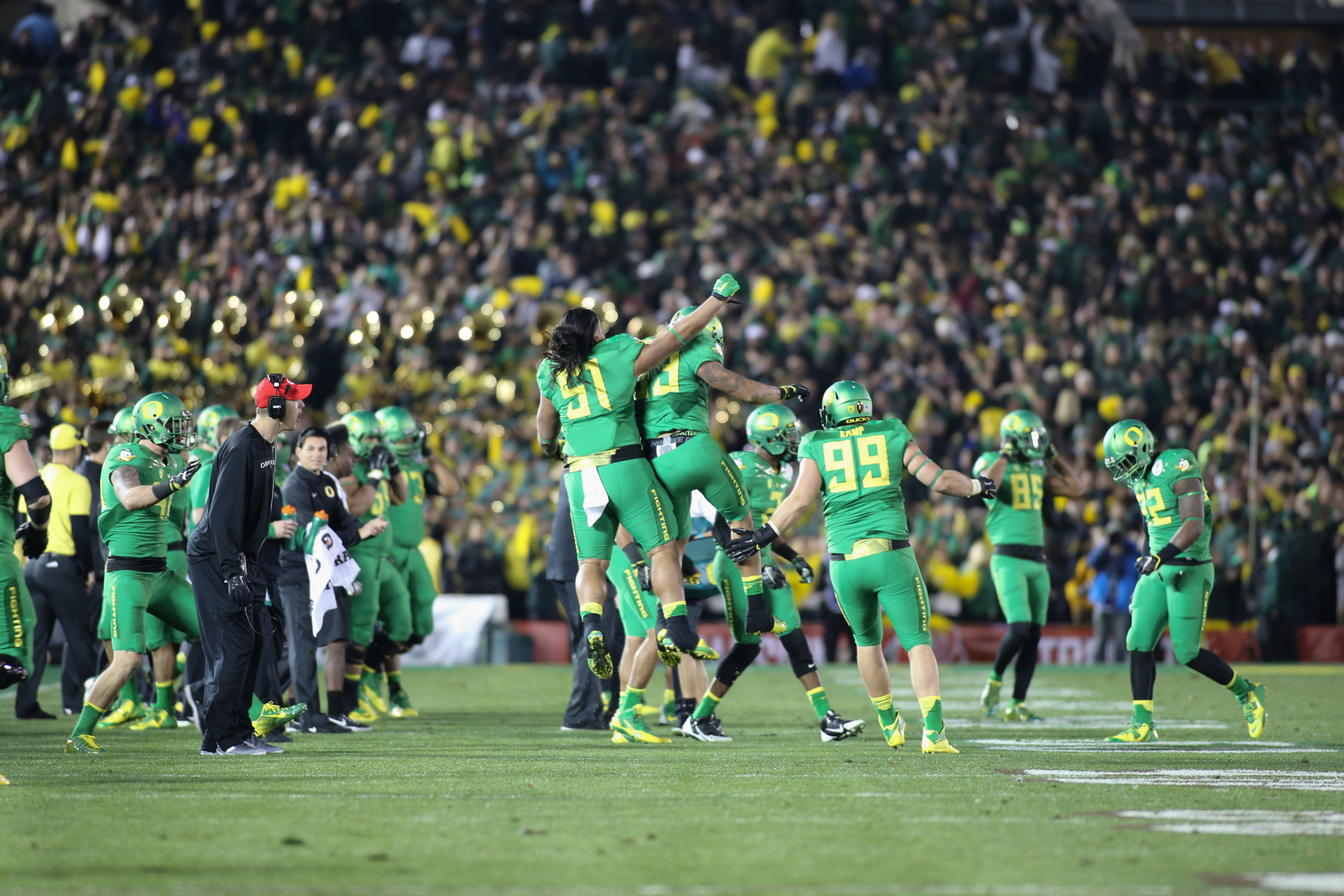 Florida State vs Oregon Ducks at the Rose Bowl in College Football Playoff