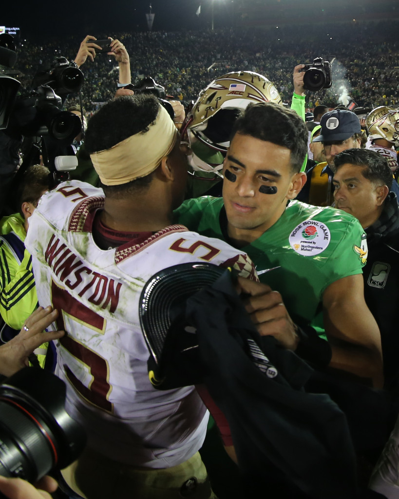 Florida State vs Oregon Ducks at the Rose Bowl in College Football Playoff - Coach Press Conferences