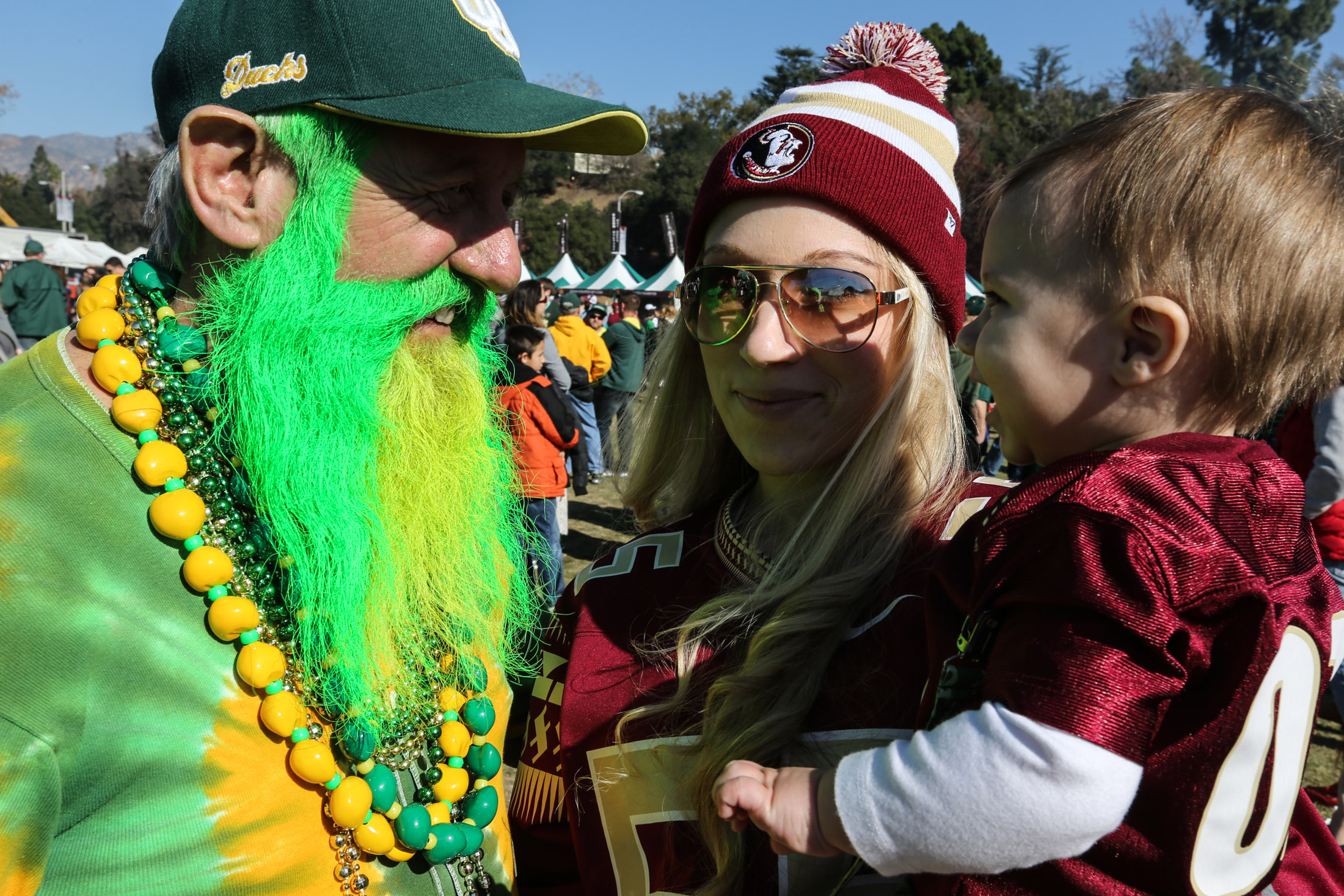 Florida State vs Oregon Ducks at the Rose Bowl in College Football Playoff - Super Fans Old and New