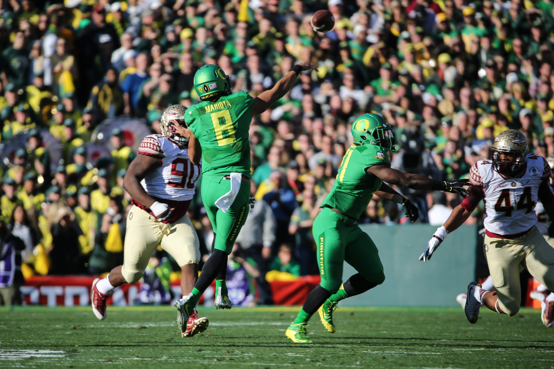 Florida State vs Oregon Ducks at the Rose Bowl in College Football Playoff - Marcus Mariota