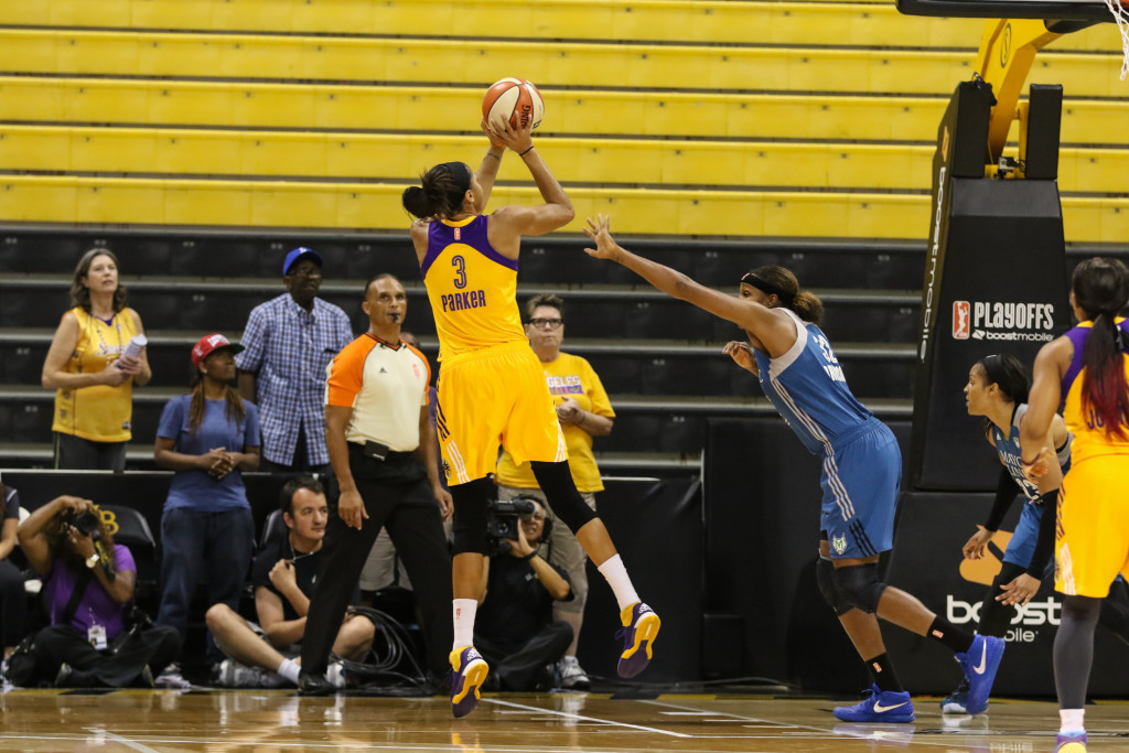 Candace Parker with fall away jumper looking smooth. Photo by Jevone Moore