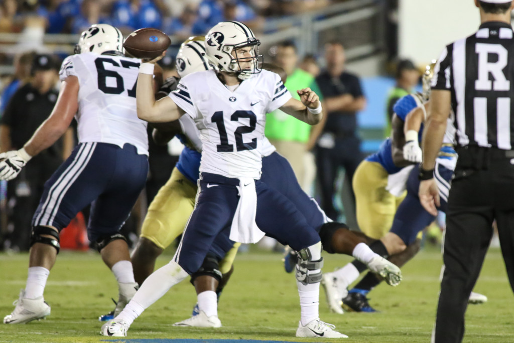 BYU Cougar Tanner Mangum in the pocket. Photo by Jevone Moore
