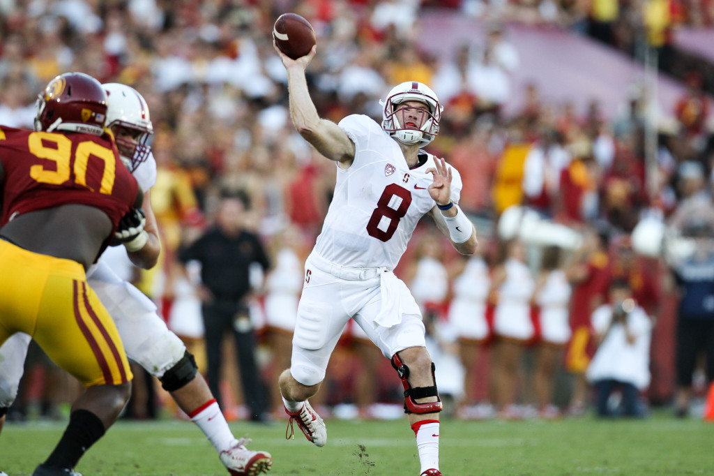 Stanford Quarterback Kevin Hogan showing off rocket arm. Photo by Jordon Kelly