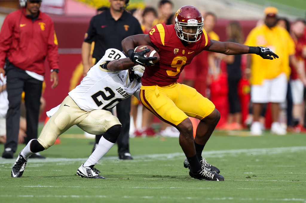 Trojan JuJu Smith-Schuster 10 catches 192 yards, 2 TD's. Photo by Jordon Kelly