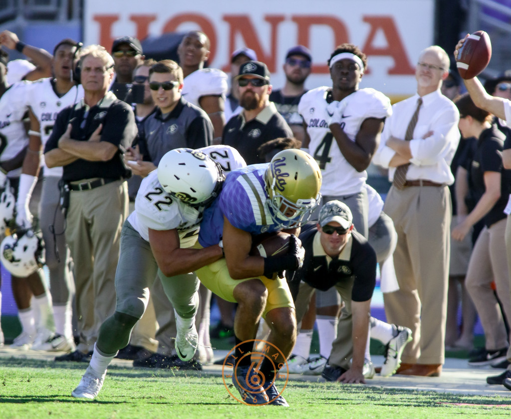 Oct. 31, 2015 - Pasadena, CA, USA - Ucla Bruins defensive back Nate Meadors (22) with interception with :51 left in second half of the Colorado vs UCLA game at Rose Bowl Saturday Oct. 31, 2015 in Pasadena, California. (Photo by Jevone Moore/Full Image 360)