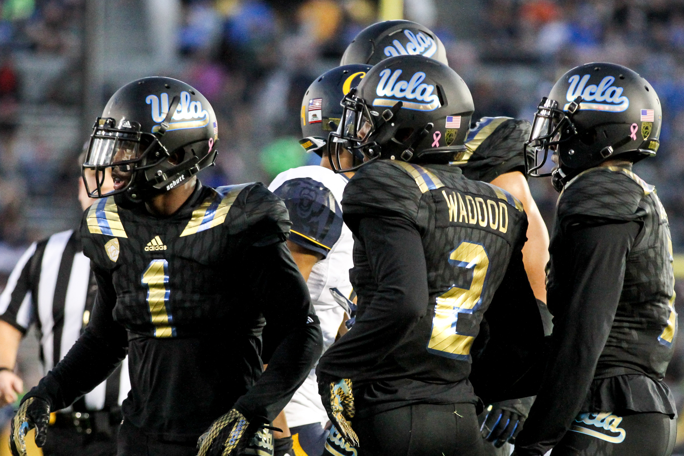 October 22 2015: UCLA Bruins in their Adidas Alternative City Uniforms worn during the game between Cal and UCLA at Rose Bowl in Pasadena, CA. (Photo by Jevone Moore / Full Image 360
