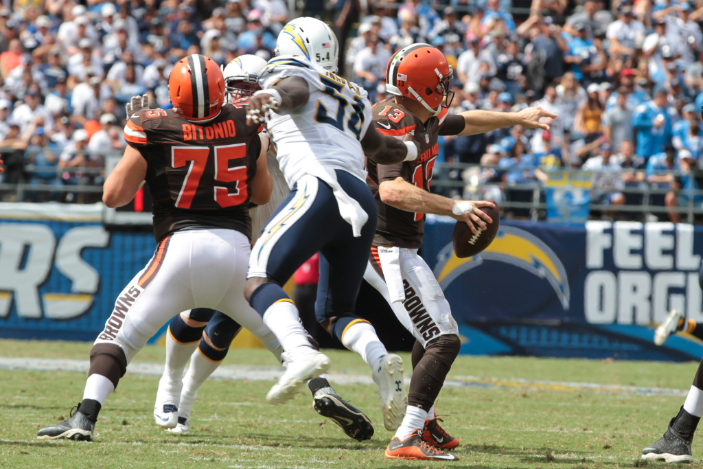 04 Oct. 2015: San Diego Chargers linebacker (54) Melvin Ingram about to sack Cleveland Browns quarterback (13) Josh McCown during a game played at Qualcomm Stadium in San Diego, CA. (Photo By Jevone Moore/Full Image 360)