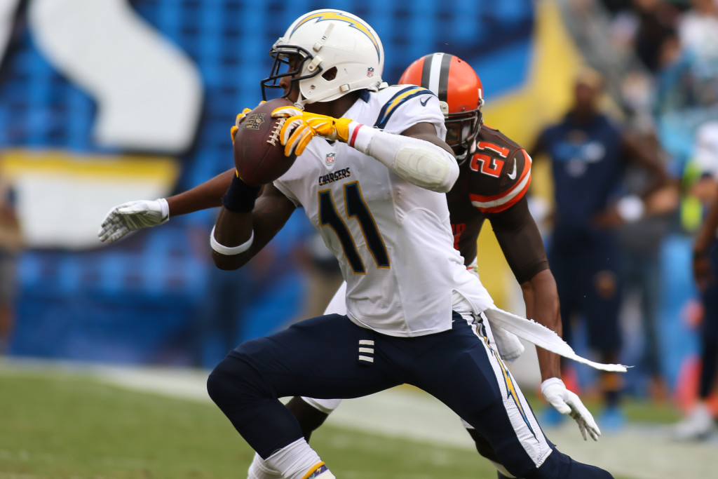 04 Oct. 2015: San Diego Chargers wide receiver (11) Steve Johnson catches a pass and makes a move on Cleveland Browns corner (21) Justin Gilbert during a game played at Qualcomm Stadium in San Diego, CA. (Photo By Jevone Moore/Full Image 360)