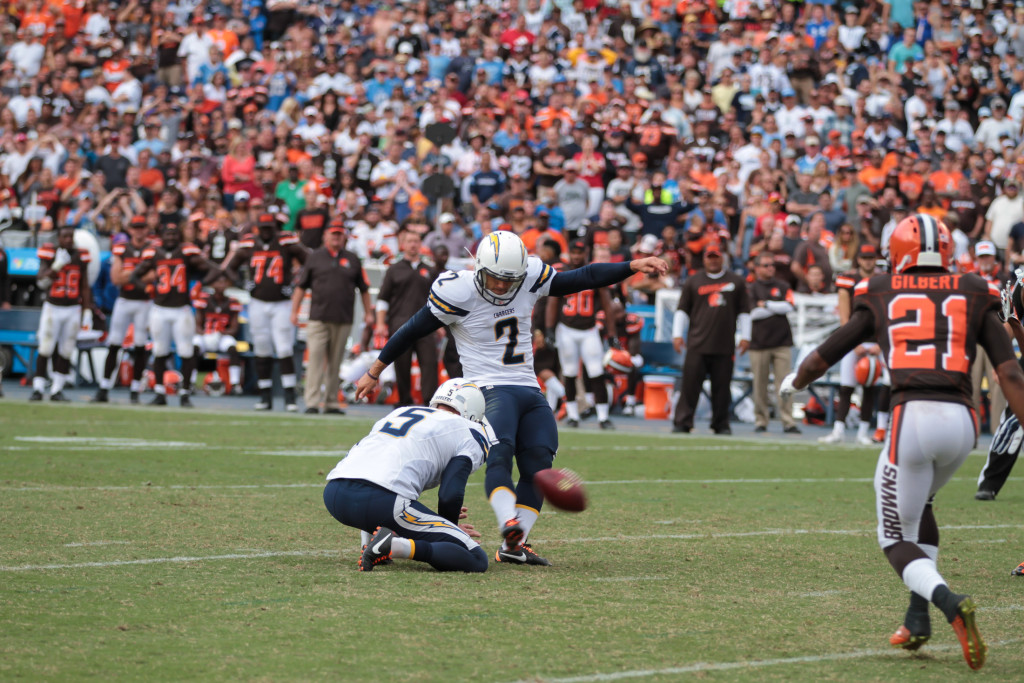 October 4, 2015 - San Diego Chargers Place Kicker Josh Lambo (2) connects on a 34 yard game winning field goal over Cleveland Browns at Qualcomm Stadium in San Diego, California. (Photo By Jevone Moore/Full Image 360)