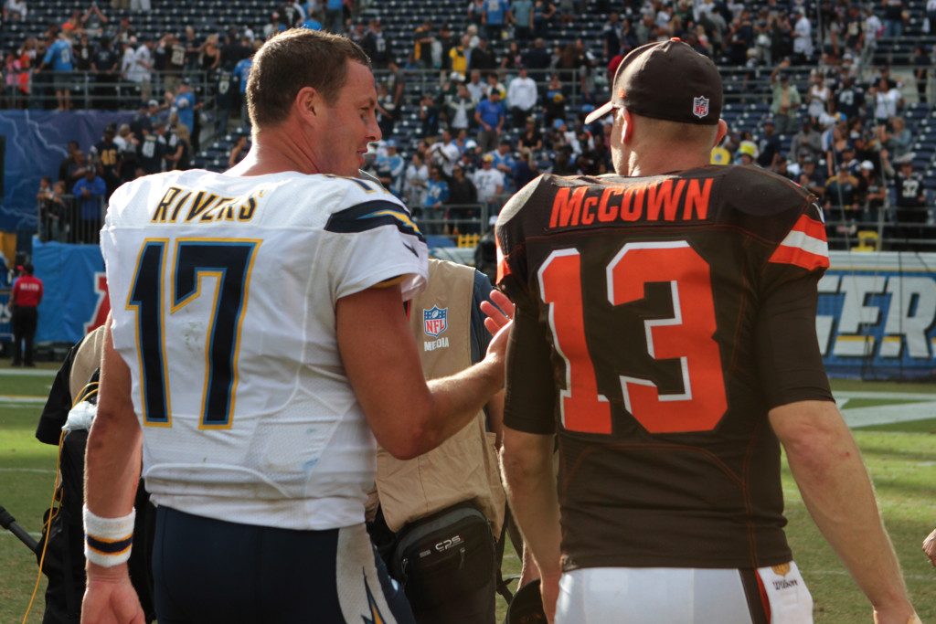 Oct. 4, 2015: Cleveland Browns quarterback (13) Josh McCown and San Diego Chargers quarterback (17) Philip Rivers on the field after the Chargers defeated the Browns 30 to 27 in a game played at Qualcomm Stadium in San Diego, CA. (Photo By Jevone Moore/Full Image 360)