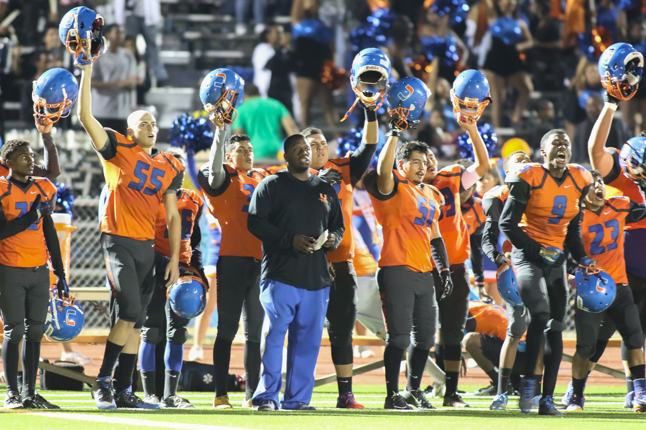 23 Oct 2015: University High School during the end of National Anthem during Homecoming game against Fairfax. (Photo by Jevone Moore / Full Image 360)