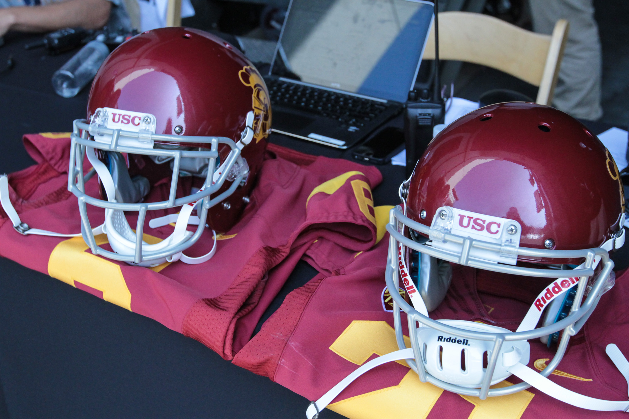 31 July 2015: USC Helmets and Jerseys on display at Pac-12 Media Day 2015 (Photo By Jevone Moore/full Image 360)